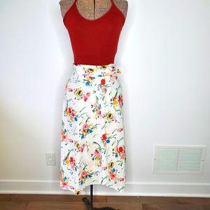 Vintage 💋 80's floral wrap skirt